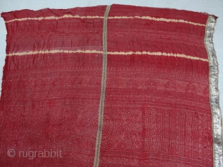 Kumbhi,Tie and Dye Silk Odhani(Bandhani)With Real Zari embroidery border in the middle with Mukesh (Badla) Work.From Kutch Region of Gujarat,India.C.1900. Belongs to Khatri community of West coast of Kutch Gujarat, Condition is  ...