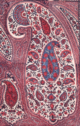 Kalamkari Double Sided (Front and Back same Design),From South India Made for Persian Market,Late 19th Early 20th Century.Hand spurn cotton,Natural Dyes.Its size is 136cmX243cm(WA0090).