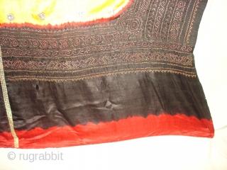 Tie and Dye Gajji Silk Odhani From Kutch Region, Gujarat, India,19th c.Its size is 140cmx150cm(DSC01132 New).