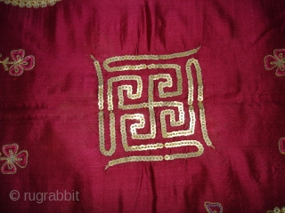 Jain Aari Zari (Real Silver and Gold) Embroidery On Gajji Silk, An Temple Hanging Chakla,From Kutch Gujarat India.Mention in Gujarati they oblation name of the owner(Kutch Bidara Late Ravji Desar's widow Paan  ...
