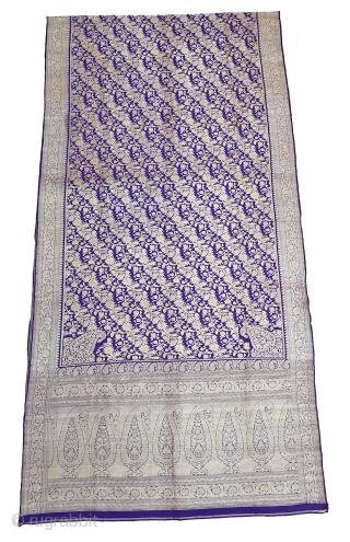 Pitambari Saree, Real Zari Silver threads with gold polish weaving on the silk,From Varanasi ,Uttar Pradesh, India. C.1900. Top condition.Its size 112cmX450cm(20191105_151148).