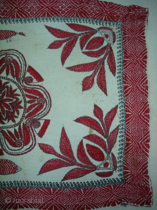 Kantha Quilted and embroidered cotton kantha Probably From East Bengal.(Bangladesh) region.India.Its size is 46cmX64cm(DSC00018 New).