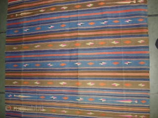 Jail Dhurrie(Cotton)Terracotta-colored striped with mahi motif. Kutch Gujarat, India.Its size is 120X210cm.C.1900. Condition is very good(DSC00523 New).