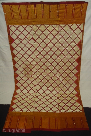 Phulkari From West(Pakistan)Punjab. India.known as Chand Bagh. C.1900. Very Rare influence of Nazar buti in the Middle(DSC04820).