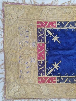 Zardozi Kalabattu Embroidery (Real Zari) Work Velvet Bichona, with real zari frills Known as Takhatposh, With Machester Print Backing, From the Royal Nawab Family of Uttar Pradesh. India. C.1900.Its size is 72cmX112cm  ...
