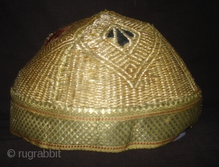 Hat Zari(Real)Embroidery,From Vohra-Muslim Group of Gujarat, India.Good Condition(DSC03632 New).