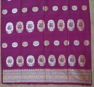 Zari(Real)Brocade Yardage Or Turban with Arabic Writing with Ganga Jamana(Gold And Silver Weaving)Work from Hyderabad, Deccan Area India, India. C.1900.Its size is 75cm X 440cm.Condition is perfect(DSC05990 New).