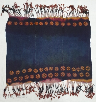 Zanskar Bokh Shawl From Tribal Area of Zanskar Ladakh India. It's Pure Indigo Blue colour has been used and made by yaks Wool. Worn by women.This Type of Tie and Dye known  ...