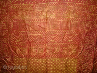 Printed Tie and Dye Style, Silk Odhani From Pethpur Region of Gujarat, India,C.1900.Its size is 165cmx180cm. Good Condition(DSC03706 New).