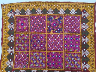 Dowry cloth,Mahar group,From Jaisalmer District of Rajasthan. India.Cotton embroidered with silk and cotton with mirrors.Its size is 50cmX56cm(20191214_150653).