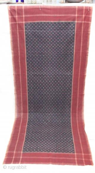 Telia Dupatta From Andhra Pradesh India.Cotton warp And Weft Ikat.Circa 1900.Its Size is 110X260cm(IMG_1100 New).
