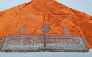 Sikh Community Head Cover (Musser) Real Zari (silver) embroidery on Mashru (Gajji Silk), From West Punjab Region of Undivided India. IndiaC.1900 (20191218_155621).