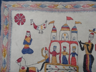 Folk Kantha Quilted and embroidered cotton Kantha Probably from West Bengal region of India, India. Its size is 34cmX46cm.Showing the Folk style of Rath-Yatra from Jagnath Puri(20191220_142054).