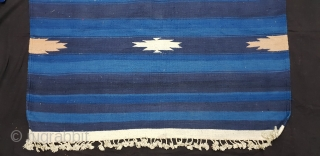 Indigo Blue,Jail Dhurrie(Cotton)Indigo Blue-Blue striped with Diamond-Motifs,Rajasthan,  India.C.1900.Its size is 104cmX192cm. Condition is very good(20181229_161703).
