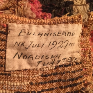 Old Finnish double sided ryijy rug, dated 1797, 191x139 cm. Due to corrosion there is a lot of repiling in mostly the dark ground. The weave on the back, seen in the two  ...