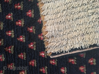 Antique Finnish double sided ryijy rug, 184x142 cm, made 1815-1825. Rug is restored, the work is done on the white back side. Rug is in good condition, it has a few old  ...