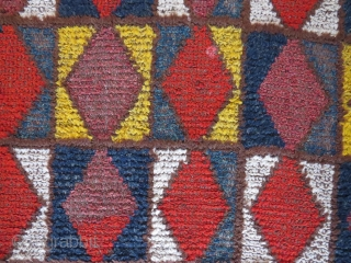 Old Central Asian sleeping rug, 228x99 cm. I´m not sure about the colours, there could be some chemicals in some of them. Some wear, but a very nice good looking rug.