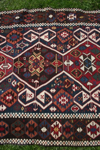 East Anatolian kelim, 1880-1900, 365-390x123-131cm. Very good colours and condition, and with a nice patina.  It lay flat on the floor, but it is a little bana shaped. Lovely piece to hang  ...