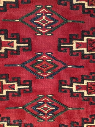 Antique Yomut soumak chuval, 110x80 cm. Probably made between 1880-1910, all the colors are fine and it´s almost in mint condition, it has three small repairs on the back. A lovely piece.
