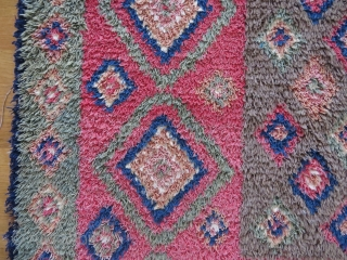 Finnish double sided ryijy rug, the front is in very good condition, signed and dated W1843, 175x135 cm. One end is folded, so it´s not reduced. Not so easy to get good  ...
