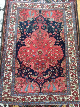 Antique Mishan Malayer rug,1910-1925, 153x113 cm. It´s very thin and has high knot density, the surface is like velvet. Rug has about nine small holes and has lost its knots in one  ...