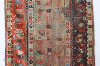 Antique Melas rug, 155x99 cm. good colours and a very nice old looking border. A lot of wear in the center, a dark spot and a 20 cm. long slit at the  ...