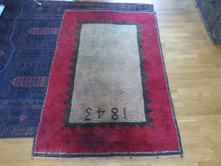 Finnish ryijy rug, 189x130 cm. Good condition for age, it has little wear and some spots, both in the field end the red border. Nice repair on the back.