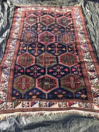Old Harchegan hassan khani rug, Chahar-Mahal, 214x140 cm. made 1920-1930. Very good colours in this all wool rug. OK condition for age but some former owner have painted the warps blue in  ...