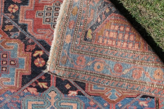 This rug is 148x108 cm. and probably from the Rozveh village in the Feridan area. Made between 1890-1920, all good colours and OK condition, with some wear, only issue is that is  ...
