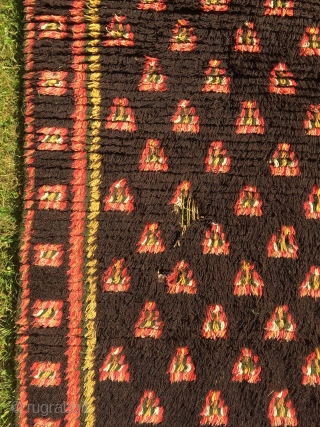 Antique Finnish ryijy rug, 184x148 made 1820-1835, very good colors and condition but also a couple of holes.
