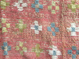 Finnish ryijy rug, 167x134, made about 1830. In used condition.