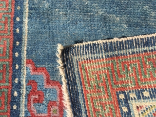 Antique Tibetan khaden rug, 1850-1875. In good condition and with lovely colours.
