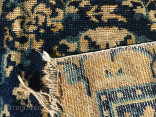 Two Chinese, probably Ningxia, squares from late 18th c. Rough condition, good colours and lovely wool.
