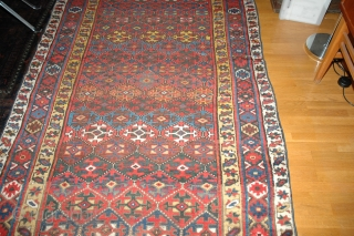 Antique NW Persia, Kurdish rug, 140x253cm. Weare to the field, OK colours, sides not original. A lot of rug for not so much money.