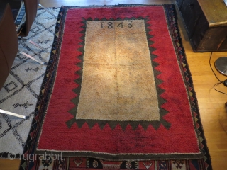 Finnish ryijy rug dated 1843, 189x130 cm. Good condition for age, it has very little wear and some spots, both in the field and the red border. Rug is washed but could  ...