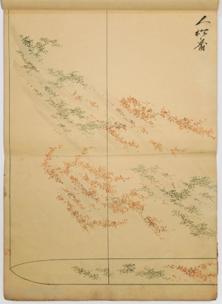 Japanese album of brush drawings with title Nikuhitsu moyō hon (Album of painted models). One volume 47x33 cm. Ink and color painting on paper. 22 large plates of textile decorative designs painted  ...