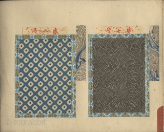 Japanese album with 100 examples of stencilled (katazome) textile komon patterns mounted on 50 pages. ca. 1880-1900. 18,5x25,5 cm. Fine conditions.
