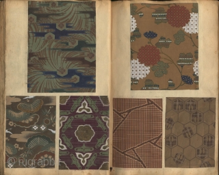 Japanese album with a collection of 432 patterns (zuan cho) painted in ink and tempera on paper and pasted on 184 pages. All designs were intended for textiles and obi designs. This  ...