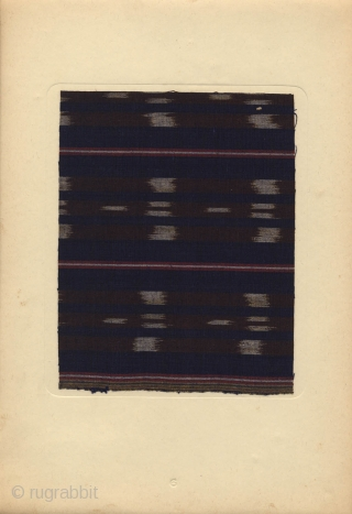 Japanese portfolio Shumi no teori momengire with 40 samples of handmade cotton textile tipped-in on cardboard, many ikat (kasuri) samples. Edited by the Society of reserch on handmade cotton textile and published  ...