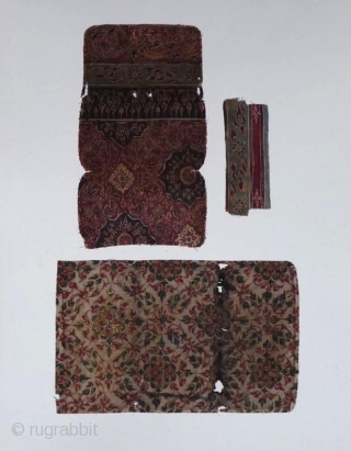 A collection made in Japan of fifteen large textile fragments mounted on cards 48x37 cm.