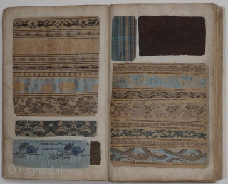 Japanese book with a collection of Japanese textile fragments, mainly brocade. One hundred forty example pasted on forty-eight pages.      The album ca. 1900, the textiles 19th and early  ...