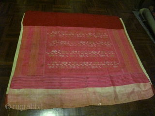 Hta-mein : traditional Burmese Luntaya Acheiq (100 Shuttles interlocking tapastry weave technique) wrap around skirt for a girl. Bright pink color is now sombre nicely with age. Silk with cotton waist band  ...