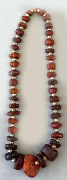 """Large size antique baltic amber with silver beads 31"""" or 15 1/2 Long 200  gms."""