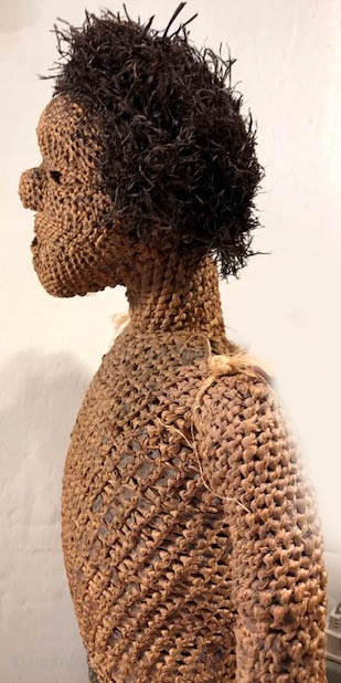 """Rare woven figure with pigmentation and clay base most likely from the Salampasu group , Congo Africa aprox height 24"""""""