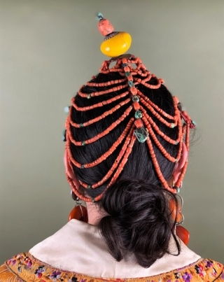 Bhutanese coral and turquoise headdress , original antique piece . top knot of glass circa 1920-30.