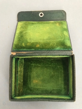 Thewa glass,22K gold foil  and silver double sided cigarette box with old velvet lined leather fitted box. Pratapgarh , Rajasthan, India early 20th c  (hairline crack to back glass in  ...