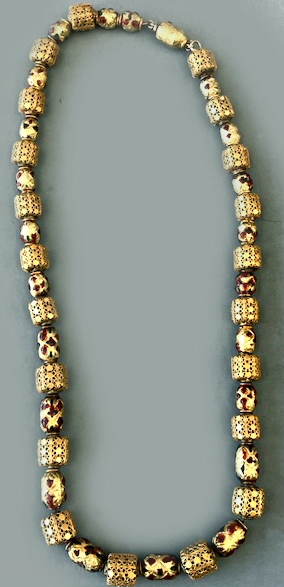 22 K gold necklace with openwork and enameled beads. Possibly late 18th c -19th culture not identified. A beautiful wearable piece