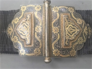 Original gilt silver and Niello work belt from Uzbekistan. Late 19th c
