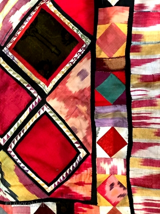 """Central Asian patchwork with silk ikat. Measures 39"""" x 38"""""""