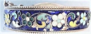 Russian enamel bangle with a pin opening, silver with cloisonne work, of a style that was used in Armenian jewelry , this dates to the 1930's.